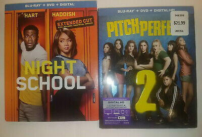 Night School Extended Cut + Pitch Perfect 2 (Blu-Ray+DVD+Slip Cover, NO DIGITAL
