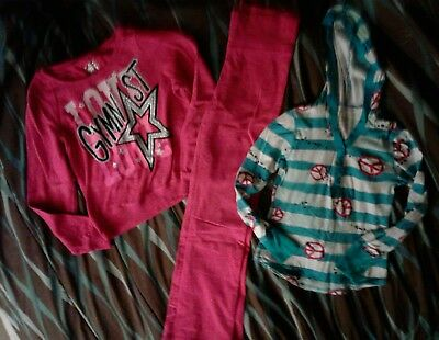 Lot 3 items, Justice girls clothes s 10-12, pants, 2 shirts 1 is hooded