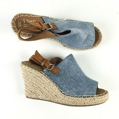 45bbddd26aac TOMS WOMENS MONICA Wedge Pine Suede Ankle-High Sandals Heels Shoes ...