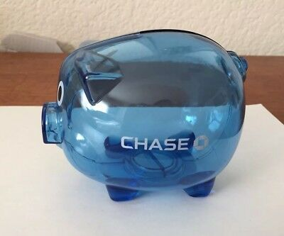 New CHASE BANK Blue Plastic Piggy Bank! Chase Logo! Very Rare!