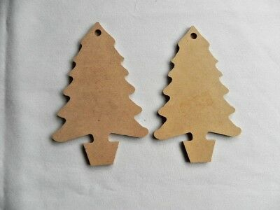 New Pack 2 Wooden Christmas DIY Decorations - Christmas Trees