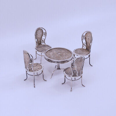 Rare Chinese Export Sterling Silver Filligree Miniature Table & Chair, late Qing