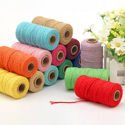 100 Yards Macrame Rope Cotton Twisted Cord Hand Craft String DIY Home Decor 2mm