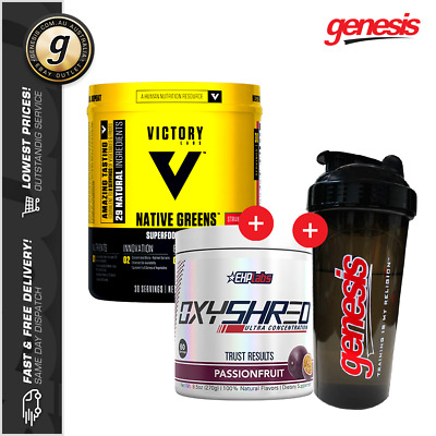 EHPLabs Oxyshred Thermogenic Fat Burner + Victory Labs Native Greens + Shaker!