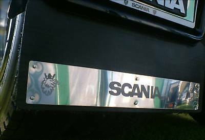 Scania R  4 series  Rear Mud Flap Plates Stainless etched logo Inc Fixings