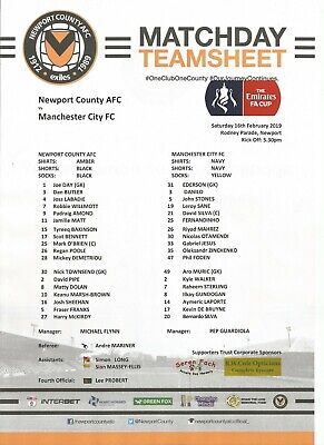 NEWPORT COUNTY v MAN MANCHESTER CITY  2018/19  FA CUP      Team Sheet