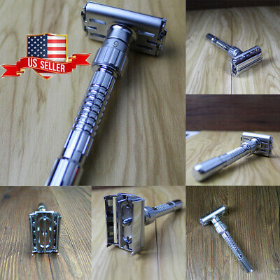 Safety Razor & 5 x Double Edge Blades - Classic Shaving Vintage Butterfly Open