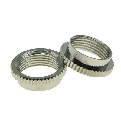 KAISH 2pcs Deep Round Nut Fine Knurl Fits Switchcraft Toggle Switches Nickel