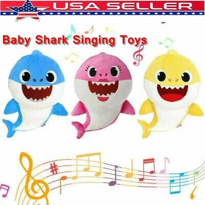 US Kids Baby Plush Shark Toy Singing English Song Cartoon Music Doll Musical Toy