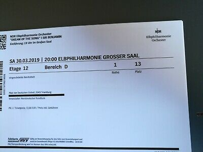 """Ticket - NDR Elbphilharmonie Orchester """"Dream of the Song"""" Sir Benjamin B. Mehta"""