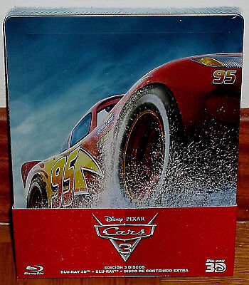 Cars 3 Steelbook Blu-Ray 3D+Blu-Ray+Extras New Sealed Disney(Unopened) R2