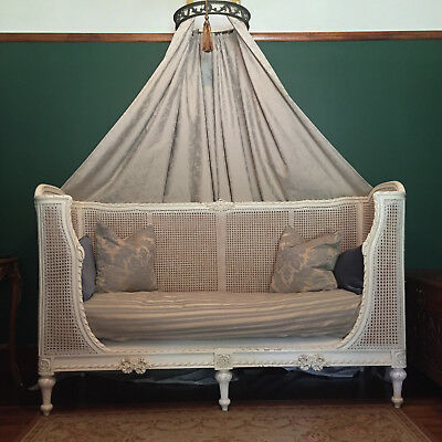 Vintage French Daybed & Bronze Crown with curtain