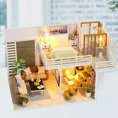 Elegant Wooden Furniture DIY House Miniature Puzzle AsseMJle 3D Dollhouse Kits A