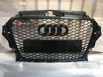 Audi A3 S3 Upgrade RS3 Gloss Black Stealth Front Mesh Grille Grill 2012 - 15