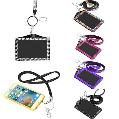 1 x BLING Horizontal Carte ID Support Card Holder Cas Titulaire Lanière Sling