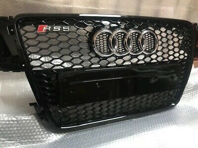 AUDI A5 S5 07 - 12 yrs To RS5 Gloss Black Honeycomb Mesh Grille Chrome Rings