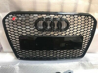 A5 S5 to Audi RS5 Style Black gloss Stealth Mesh Front Grille grill 2012 - 2015