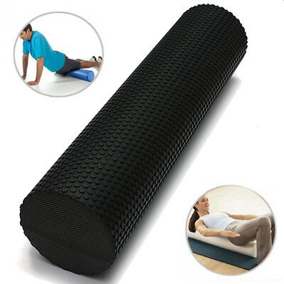 90X15Cm Eva Physio Foam Roller Yoga Pilates Gym Exercise Trigger Massage Black