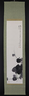 """JAPANESE HANGING SCROLL ART Painting """"Melon and Grasshopper""""  #E6181"""