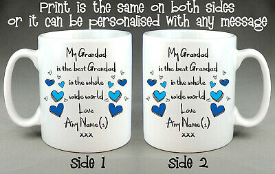 Personalised Best Grandad Whole Wide World Mug Cup - Father's Day Birthday Gift