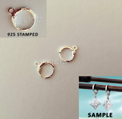925 Stamped Sterling Silver Round Earring Ear Hooks Leverback Open Ring Findings