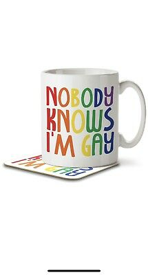 Nobody Knows I'm Gay - Mug and Coaster By Inky Penguin
