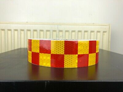 Red & Yellow High Intensity Chequer Reflective Tape Self-Adhesive 50mm×1 Meter