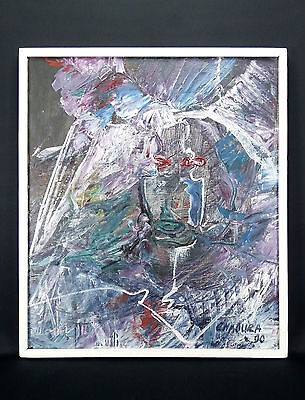 Art Abstrait Art Moderne Grande Huile/toile Signature Cyrillique Abstract 1989