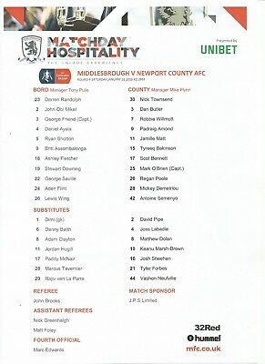 MIDDLESBROUGH v NEWPORT COUNTY  2018/19   FA Cup 4th Round    TEAMSHEET