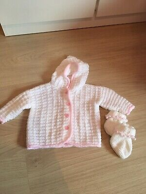 04c77b167 BABY GIRL HAND Knitted Pram Coat Cardigan With Hood And Booties ...