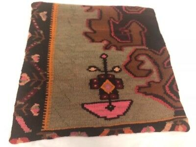 Kilim Pillow Cover Rug Turkey Flowers Euc Handmade 20 X 20 Free Shipping