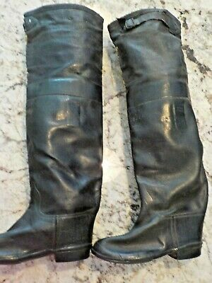 Antique Child's Leather & Rubber Tall Boots/Made in Boston