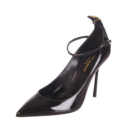 SAINT LAURENT Leather Court Shoes Size 39 UK 6 Ankle Strap Patent Made in Italy