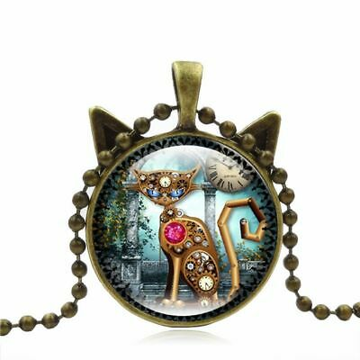 Jewelry Long Chain Steampunk Mechanical Cat Pendant Glass Bronze Necklace