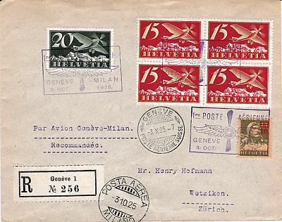 Switzerland 1925 Geneva-Milan 1st Flight Cover with air stamps & special h/s,VG