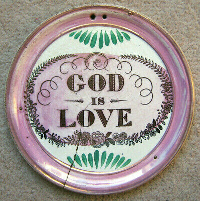 "Rare Sunderland Pink Lustre Earthenware Wall Plaque ""god Is Love"" Mid 18Th C"