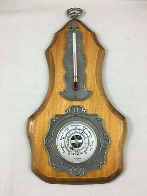 "Antique French wall barometer thermometer pewter & wood "" Etain du dauphinois"