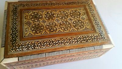 Vintage, Antique, Parquetry Inlaid With Mother Of Pearl , Variety Of Woods,