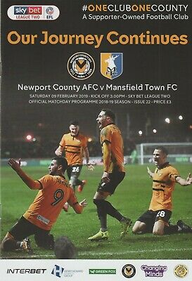 * 2018/19 - NEWPORT COUNTY v MANSFIELD TOWN (9th February 2019) *