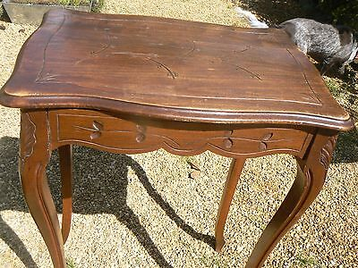 Pretty Little Antique / Vintage French Beech Carved Sewing ? Table  Lift Up Lid