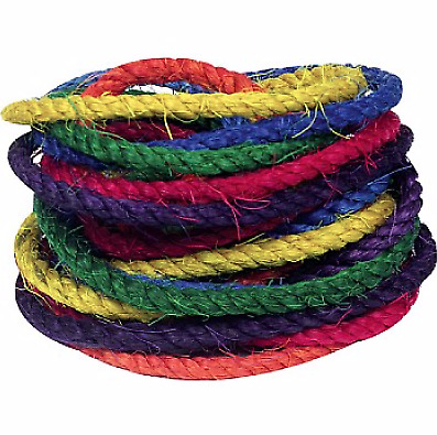 Coloured Sisal Ropes - Parrot Toy Making Parts - Pack of 6 - Different Colours
