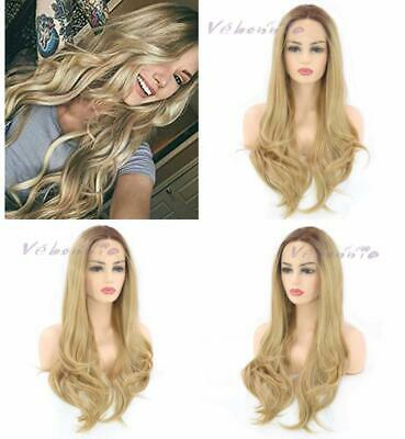 Vébonnie Fashion Ombre Blonde Lace Front Wigs for Women Dark Rooted Honey uk...