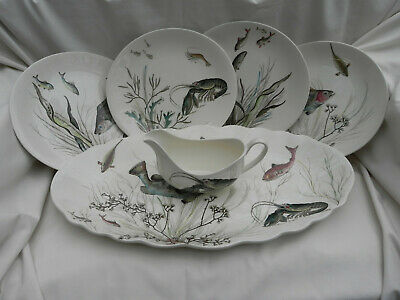 Vintage Johnson Bros FISH LARGE FISH PLATTER, 4 X PLATES & BOAT,Hand Engraving