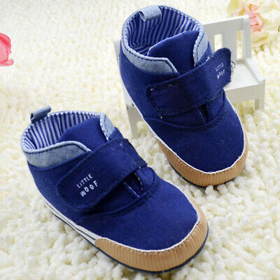 Dark Blue Baby Boys Girls High Ankle Crib Shoes Sneaker Boots Toddler Soft 13cm