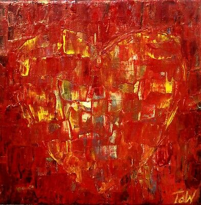 Acrylic Original Abstract Contemporary Red Heart Love Art Painting