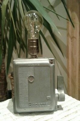 funky industrial lamp made from VINTAGE factory  BILL RADETTE power switch,