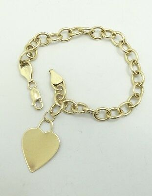 """14k Yellow Gold Heart Charm Bracelet Solid Rolo Link Engraveable 7.5/"""" 17g"""