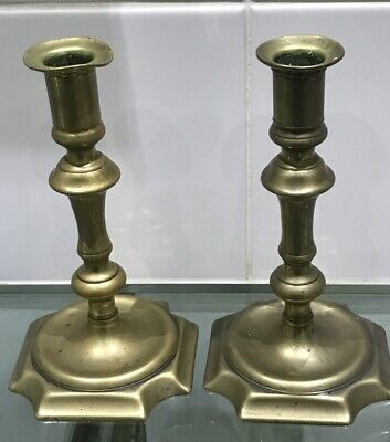 Fine Pair Of Georgian Antique Petal Base Brass Candlesticks 1780