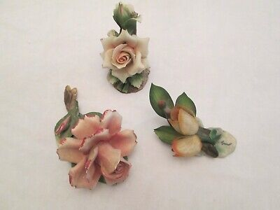 Lot of 3 Capodimonte Flower Figurines Porcelain  Made in ITALY Good condition