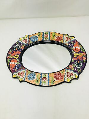 Traditional Ornate Hand Painted Turkish Ceramic Framed Oval Mirror